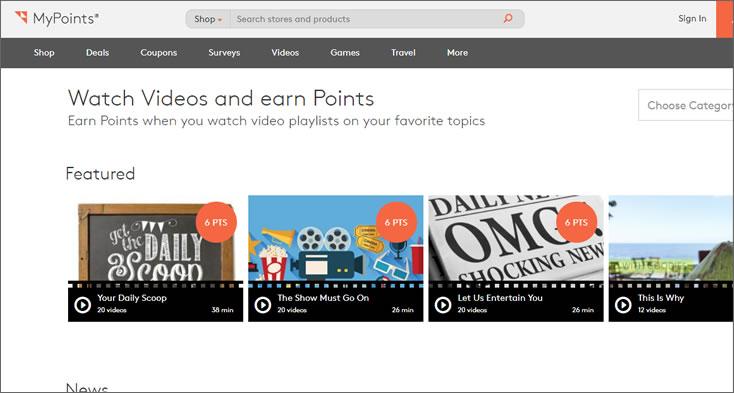 mypoints watch videos